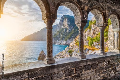 Photo sur Aluminium Ligurie Church of St. Peter in Porto Venere, Ligurian Coast, La Spezia, Italy