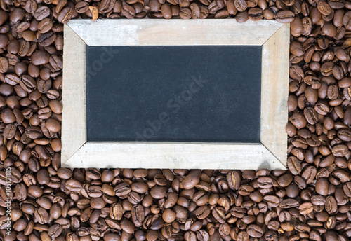 Coffee beans / Coffee beans and empty blackboard