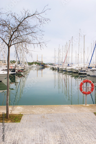 Spoed Foto op Canvas Natuur White boats and yachts in the quay