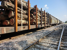 Train Rail Car Filled With Timber Logs - Landscape Color Photo