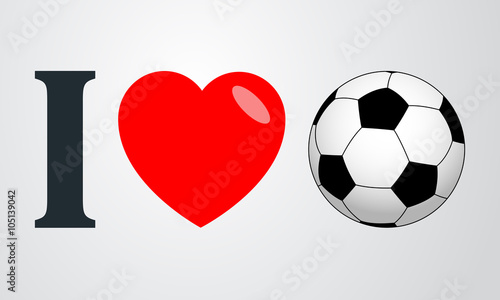Icono plano i love futbol color en fondo degradado - 105139042