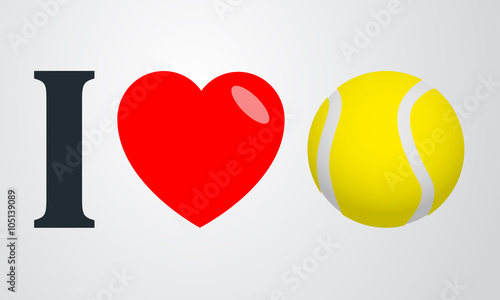 Icono plano i love tenis color en fondo degradado - 105139089