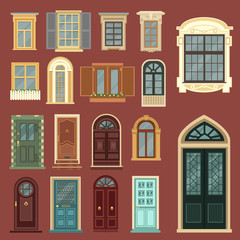 Naklejka Architectural Set of European Vintage Doors and Windows
