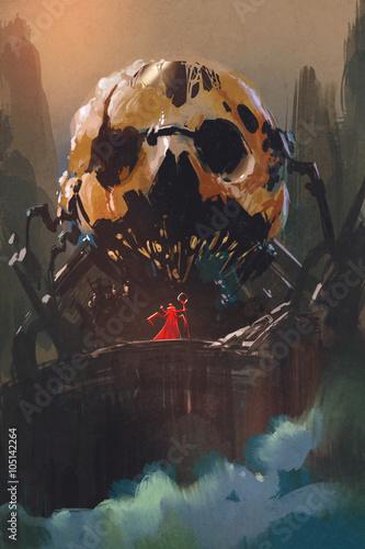 Fototapeta  illustration painting of villain standing in front of skull building