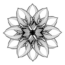 Round Mandala Element For Coloring Book In Vector