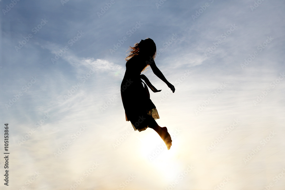 Fototapety, obrazy: Silhouette of Woman Rising into Heaven