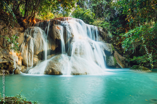 Poster Watervallen Waterfall Huay Mae Kamin in deep forest with beautiful , in Thailand