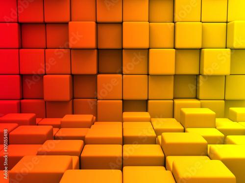 abstrakcyjne-czerwono-pomaranczowo-zolte-szesciany-3d
