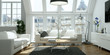 Leinwanddruck Bild - helle moderne Altbau Wohnung
