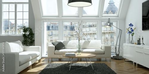 Obraz helle moderne Altbau Wohnung - fototapety do salonu