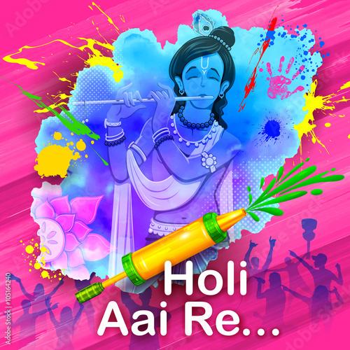 In de dag Regenboog Krishna Playing Holi