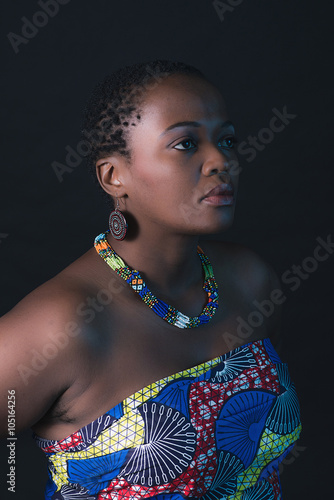 fototapeta na drzwi i meble Traditional south african xhosa woman wearing colorful fabric.