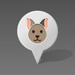 Cat pin map icon. Animal head vector illustration