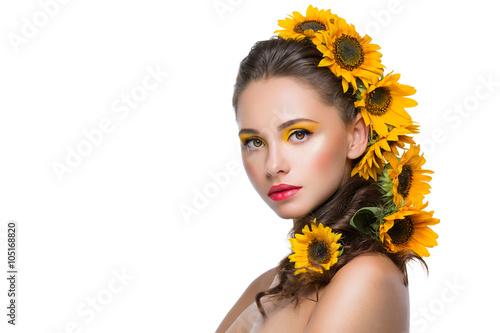 Obraz na plátne  Beautiful girl with flowers in hair
