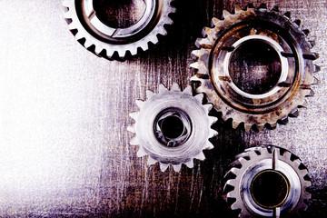 Fototapeta Industrialny Gears on a metal background