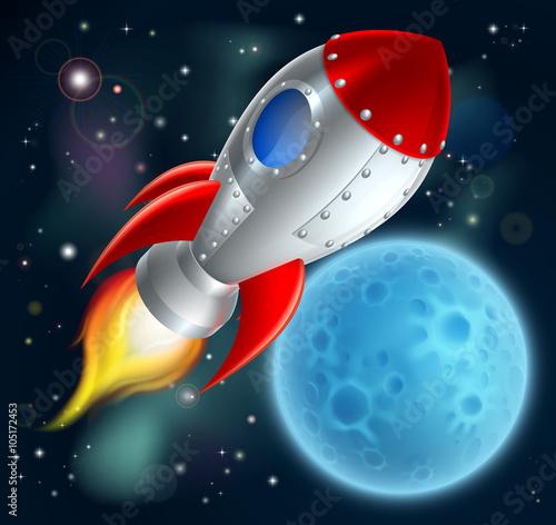 Foto op Canvas Kosmos Cartoon Rocket Space Ship