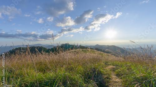 Spoed Foto op Canvas Noordzee Sunrise over the mountain range