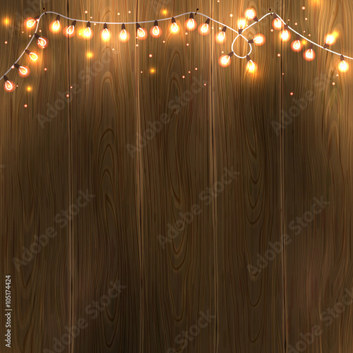 Christmas New Year Design Wooden Background With Lights Garland Vector Illustration