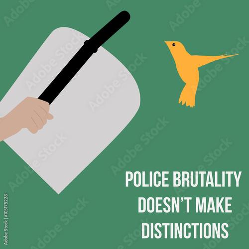 Fényképezés  Police hand with shield and baton threats little bird