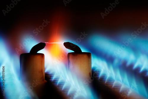 Fotografía  Las llamas de gas con encendido de chispa
