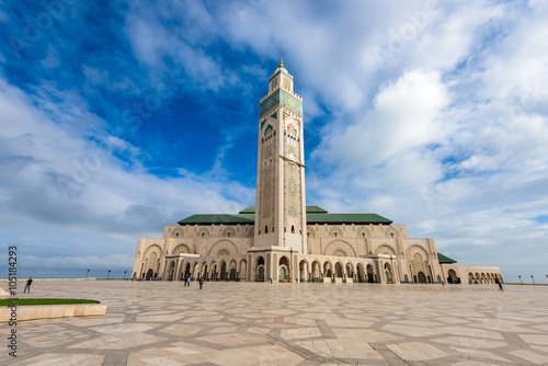 Canvas Hassan II Mosque in Casablanca, Morocco.
