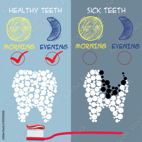 Dental care concept. Healthy and sick teeth. - 105186068
