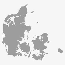 Map Of Denmark In Gray On A Wh...