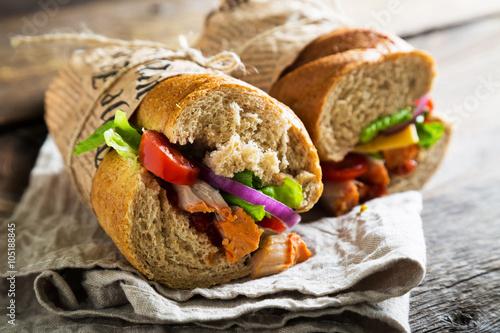 Sandwiches with meat and vegetables