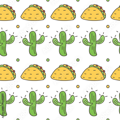 Mexican Seamless Pattern Background With Cactus And Taco Cinco De Mayo