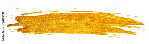Spoed Foto op Canvas Vormen Gold stain isolated on white background.