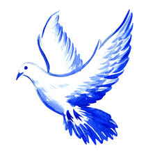 Free Flying White Dove Isolated, Watercolor Illustration