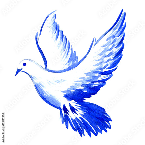 free flying white dove isolated, watercolor illustration Wall mural