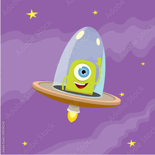 Spoed Foto op Canvas Violet ufo. alien vector. flying saucer