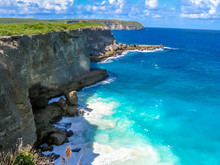 The Pointe De La Grande-Vigie Is Located At The North Of Grande-Terre In Guadeloupe, French Antilles, Caribbean. The High Cliffs Of 80 Meters, Creating A Spectacular And Wild Landscape.