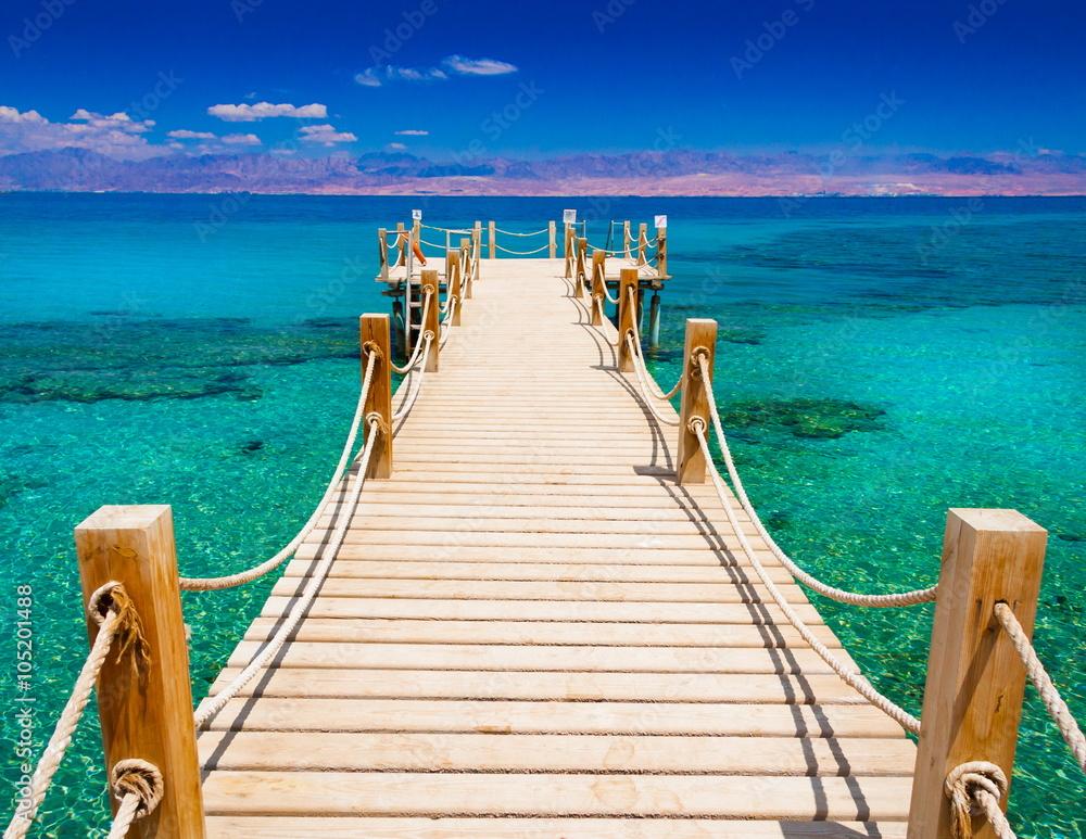 Fototapeta Egypt. Red sea day, wooden bridge!