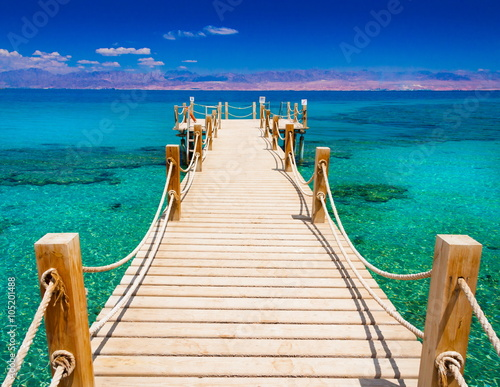 Egypt. Red sea day, wooden bridge! Wall mural