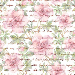 FototapetaPink camelia flowers and vintage ink text letter. Watercolor. Repeating retro floral pattern