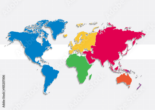 world map continents colors vector - Individual separate continents ...