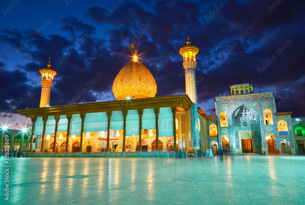 Fototapety, obrazy: Shah Cheragh mosque after sunset. Shiraz, Iran