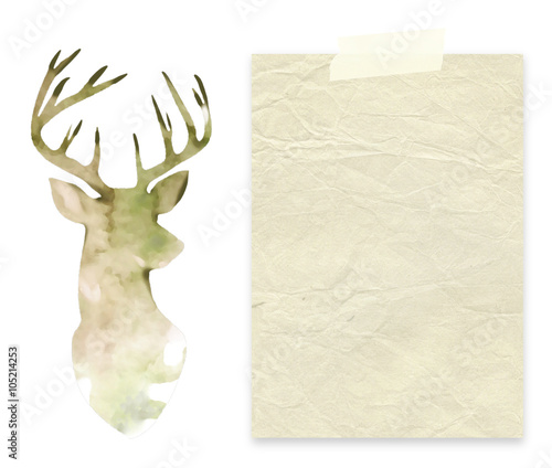 Close-up of one old paper sheet with tape next to watercolour deer silhouette background