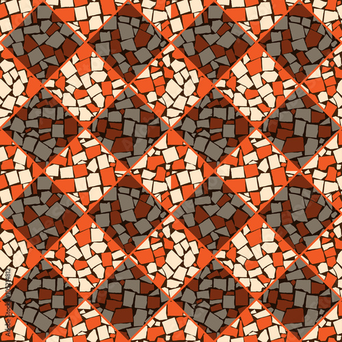 Orange and ivory vector seamless chess styled vintage tiles