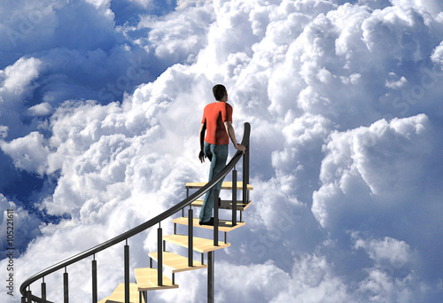 Fotografie, Obraz  digitally rendered 3d illustration of a stairway to heaven