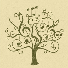Hand Drawn Tree With Curly Twigs With Musical Notes And Signs