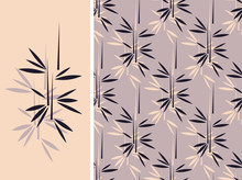 A Japanese Style Bamboo Seamless Tile And Its Isolated Pattern In A Vintage Black And Light Purple Color Palette