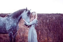 Beauty Blondie With Horse In ...