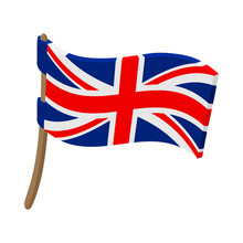 Great Britain Flag With Flagpo...
