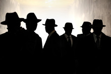Men In Fedora Hats Silhouette....