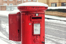 Post Box Snow. Royal Mail Winter