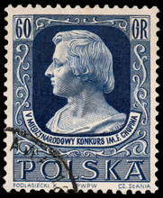 Stamp Printed By Poland Shows Portrait Of Frederic Chopin