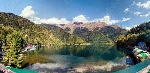 an unusual view of mountain lake Ritsa in Abkhazia Republic Canvas Print